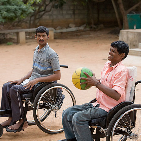 Chaintanya wheelchair used by people with locomotor disability or spinal cord injury at APD India