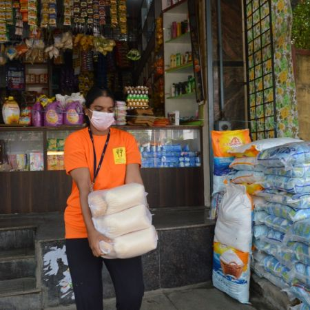For protective masks, gloves and sanitizers for one volunteer distributing relief material