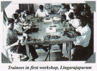 Trainees at the new workshop in APH | APD India, 1972