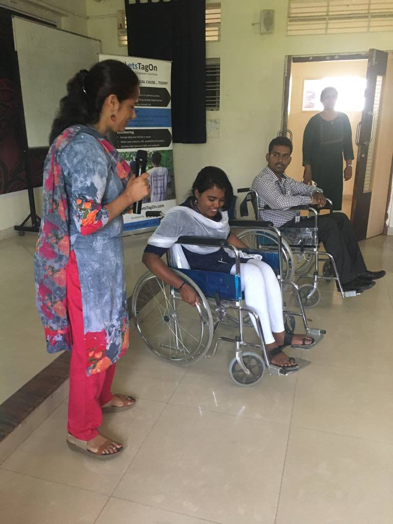 Students being educated on wheelchair usage as part of sensitisation | APD India