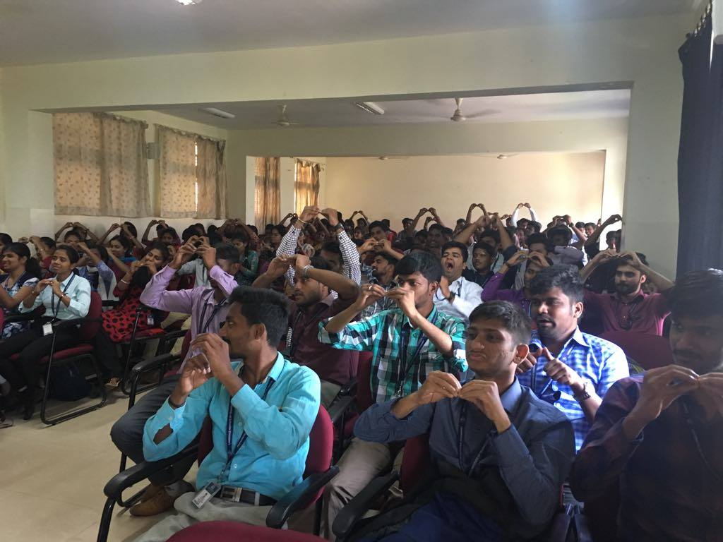 Students being educated on Indian Sign Language as part of sensitisation | APD India