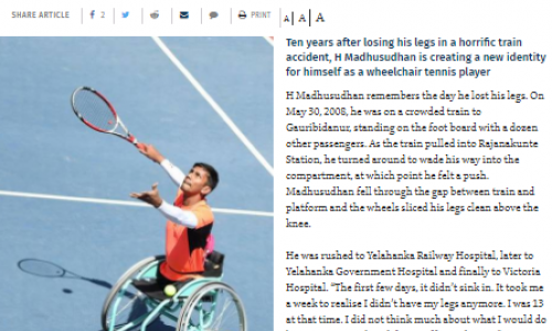 Madhusudan - wheelchair tennis champion
