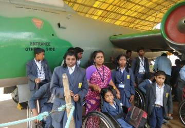 Children with the Canberra Aircraft at HAL Museum | APD India